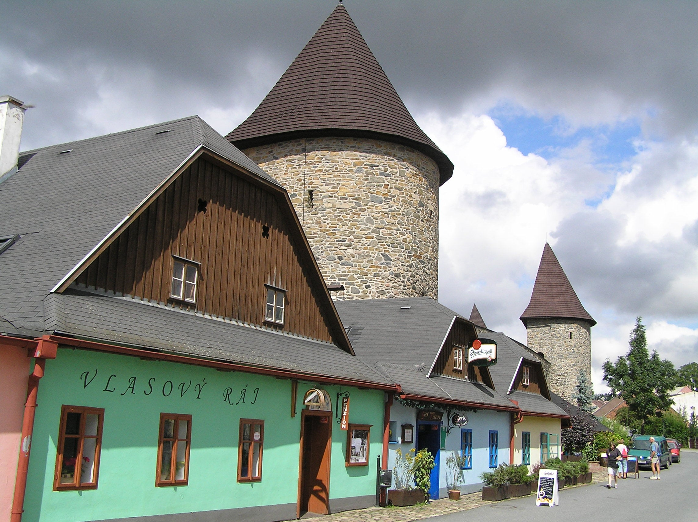 Typical czech houses in the wall of Pôlicka