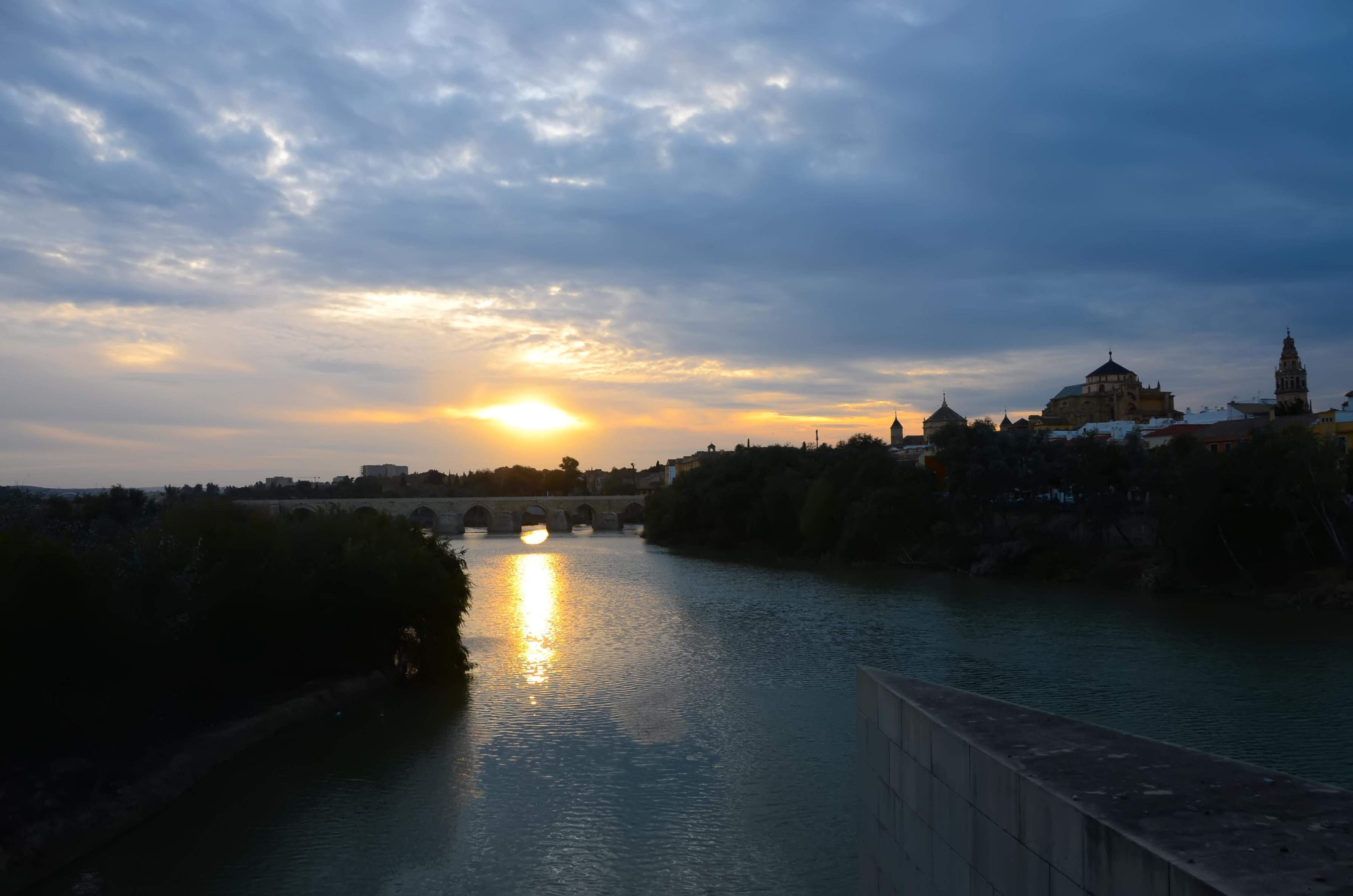 Sun in Roman Bridge of Córdoba