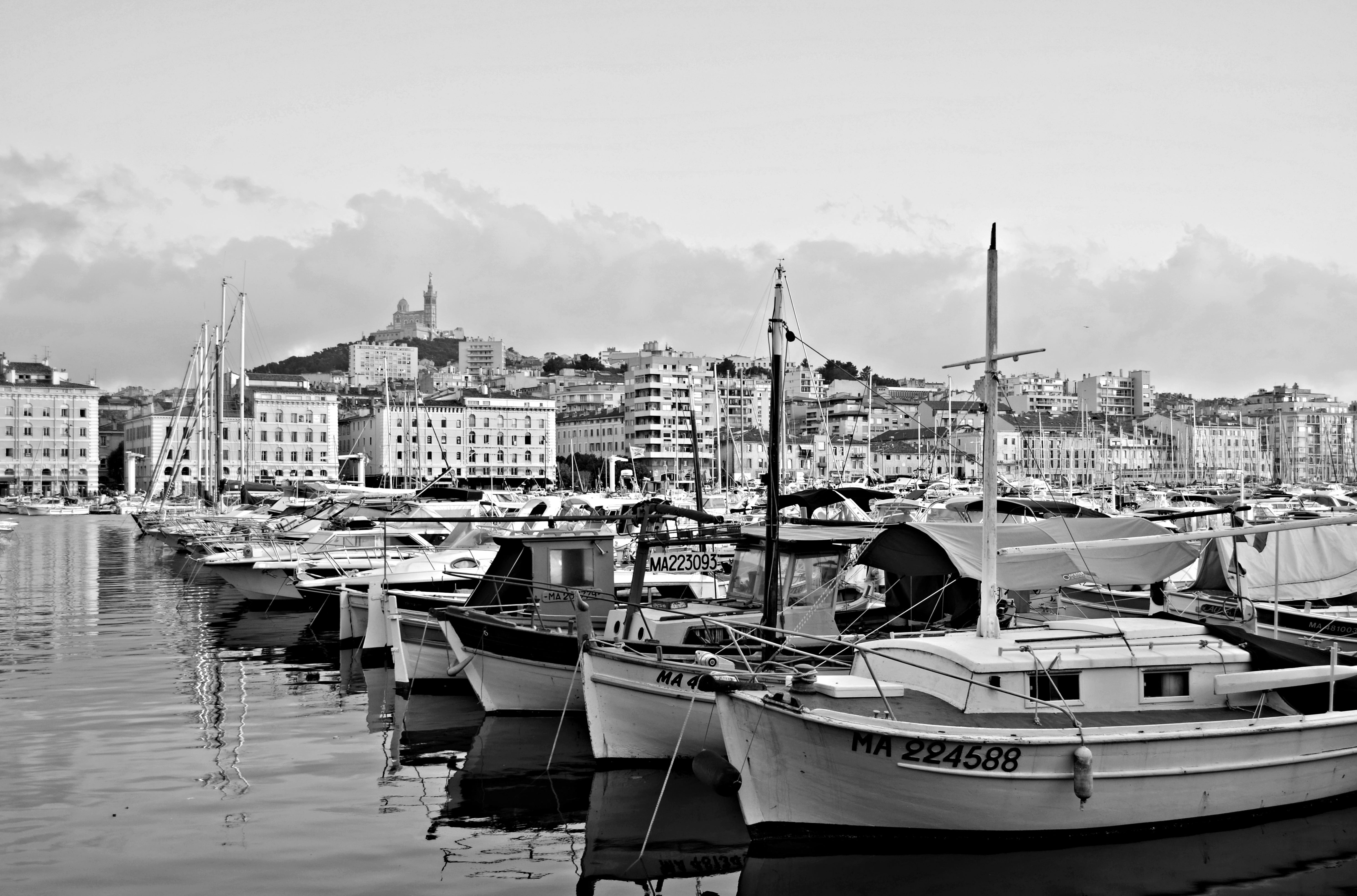 Black And White in Port of Marseille