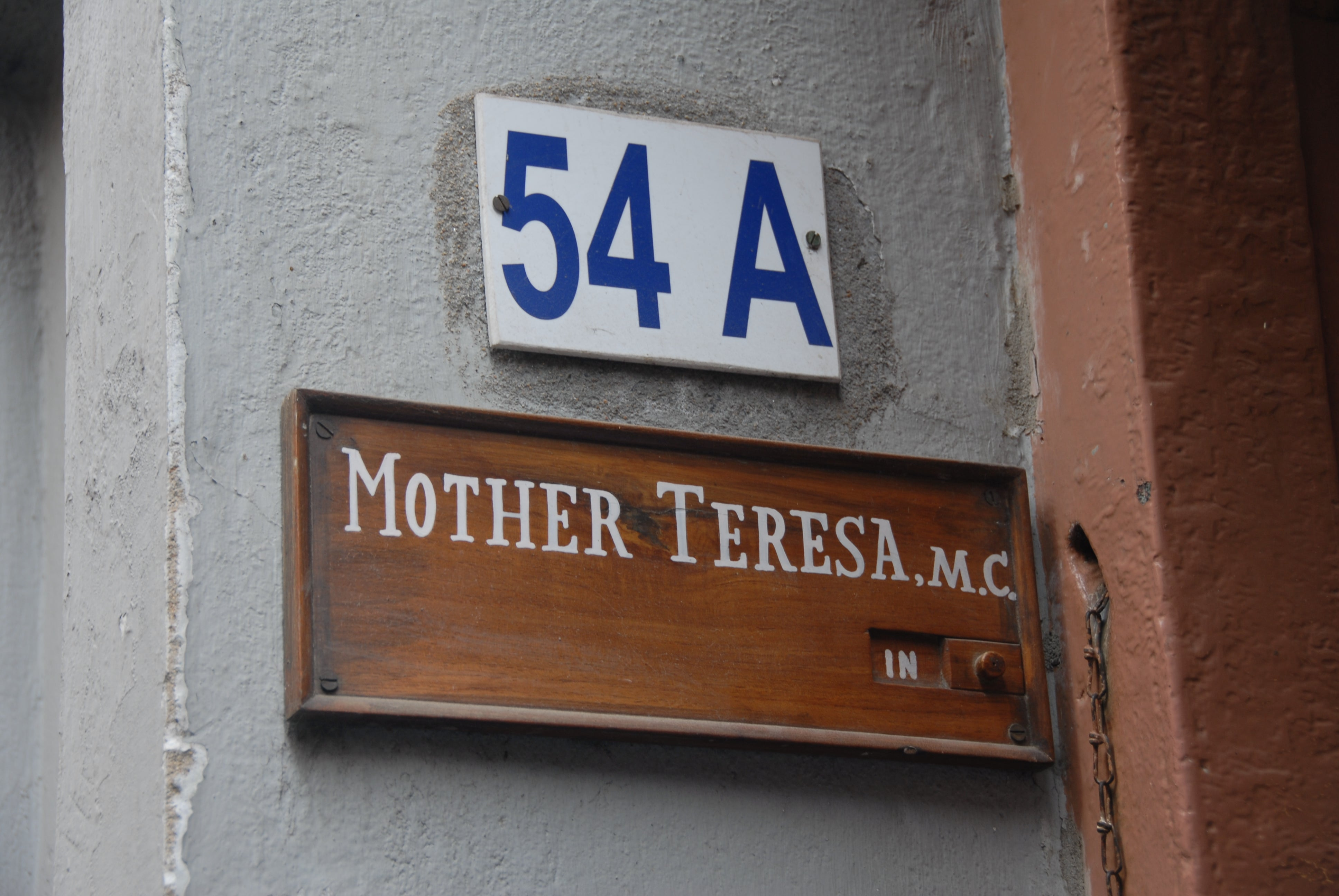 Cartel de la calle en Mother House de Madre Teresa
