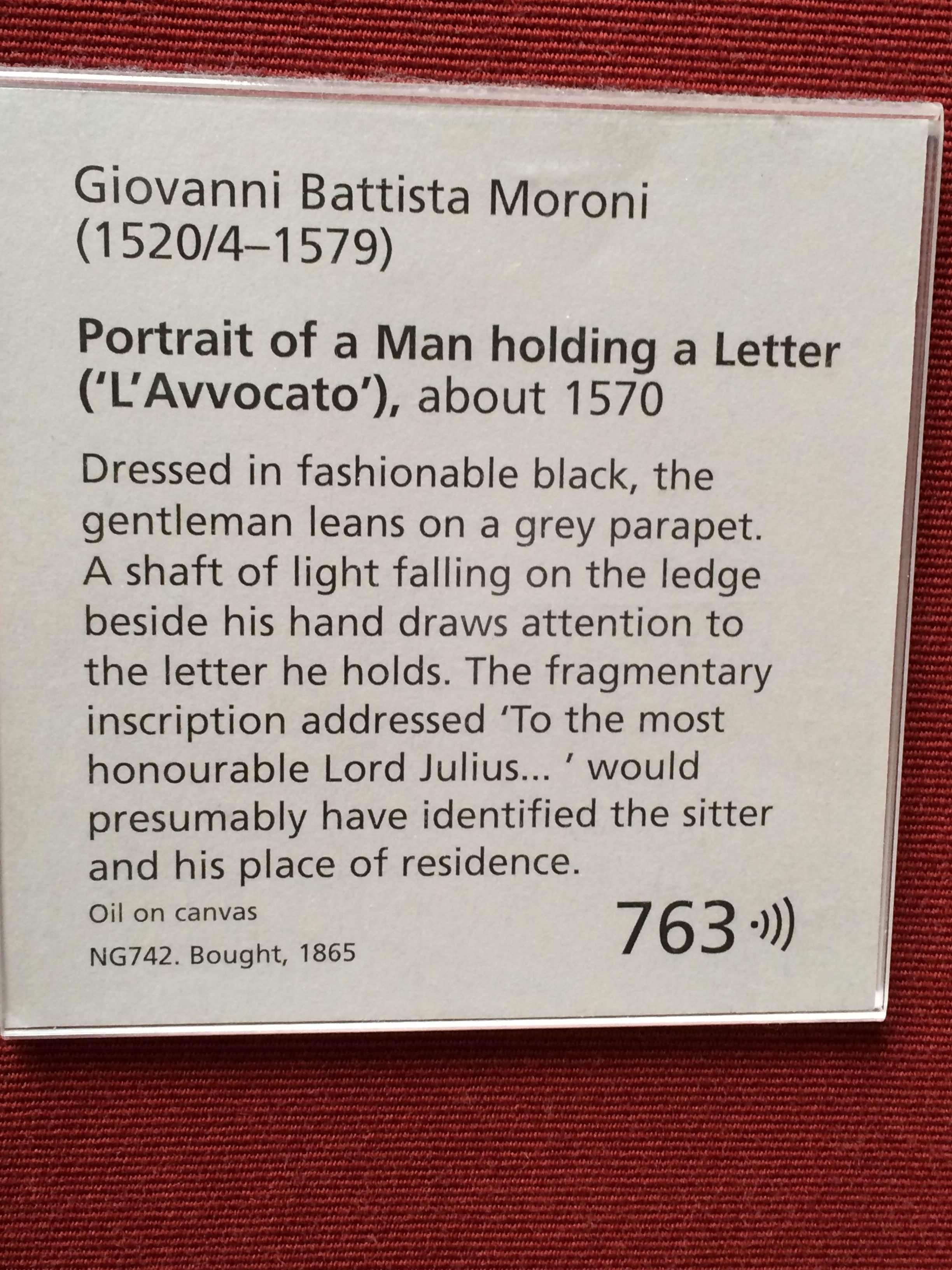 Placa conmemorativa en National Portrait Gallery