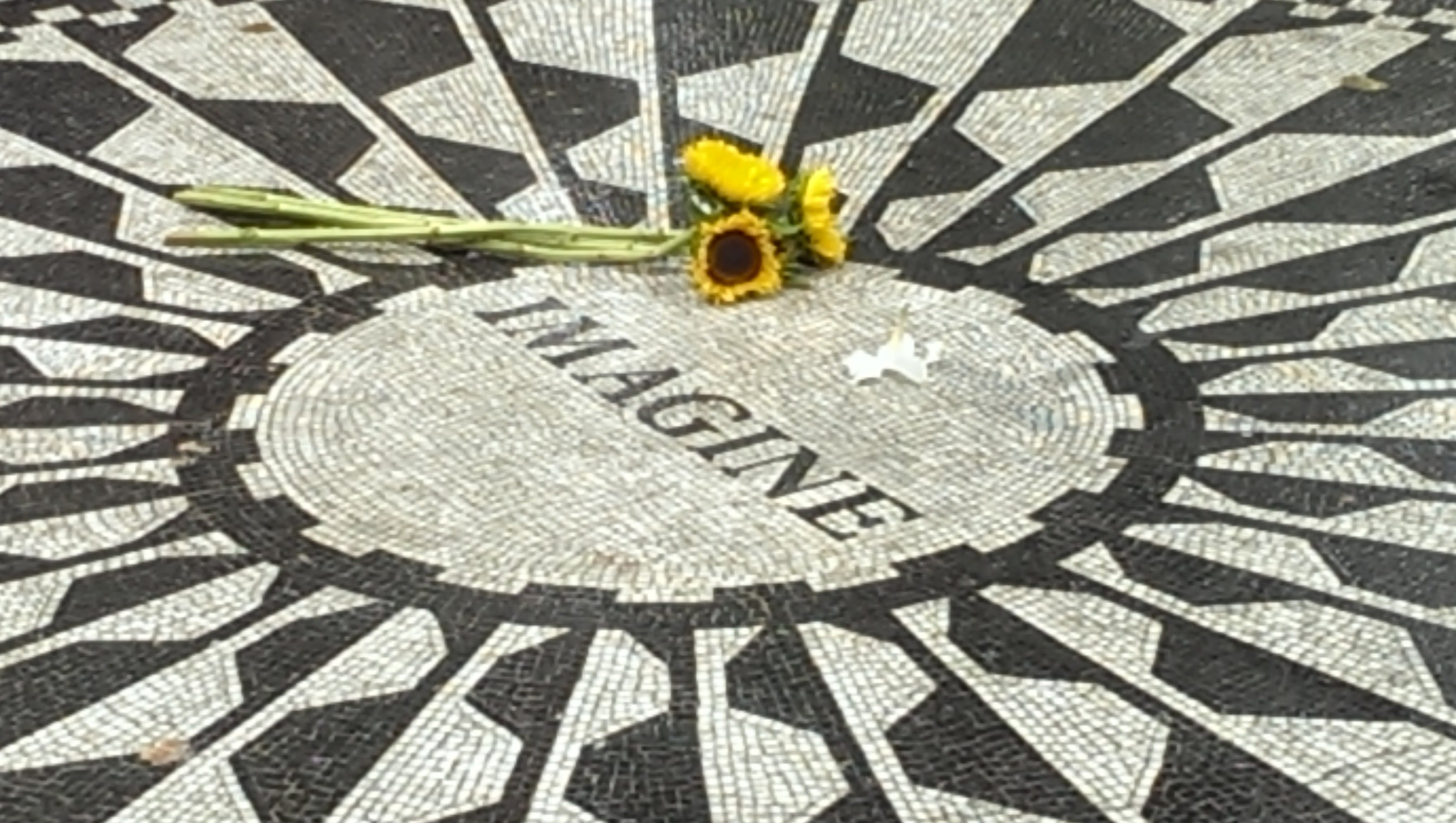 Textura en Strawberry Fields - monumento a John Lennon