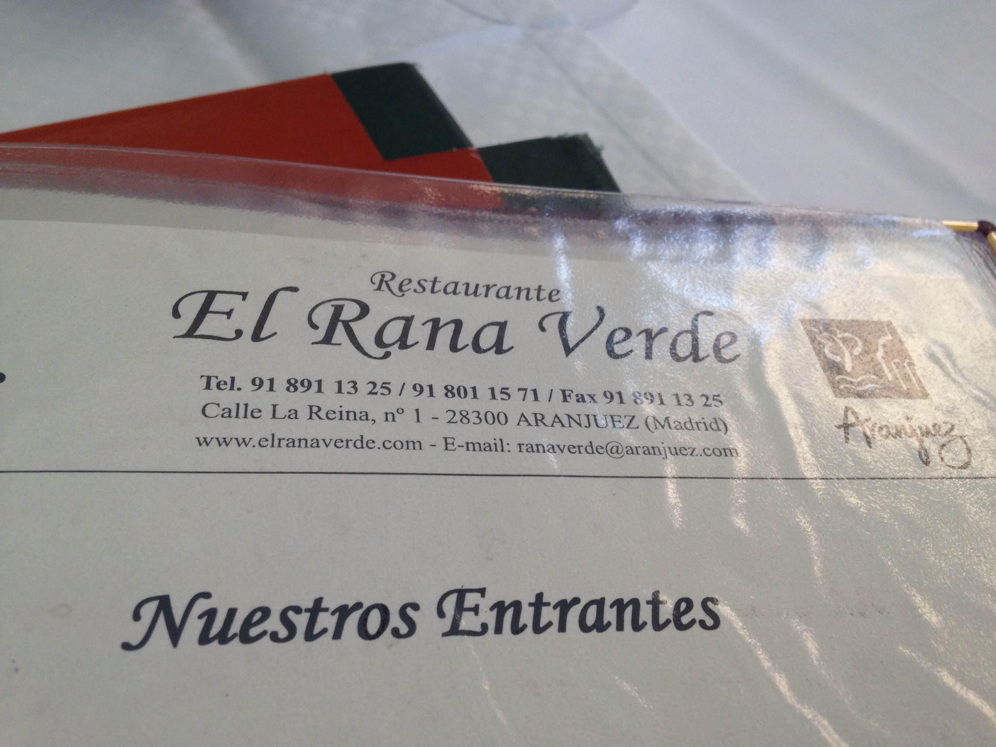 Documento en Restaurante El Rana Verde