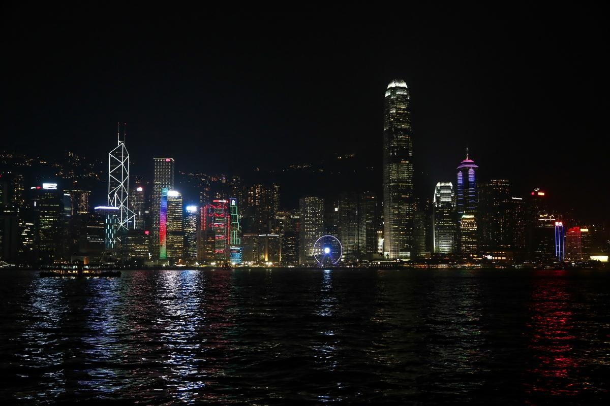 Mar en Skyline de Hong Kong