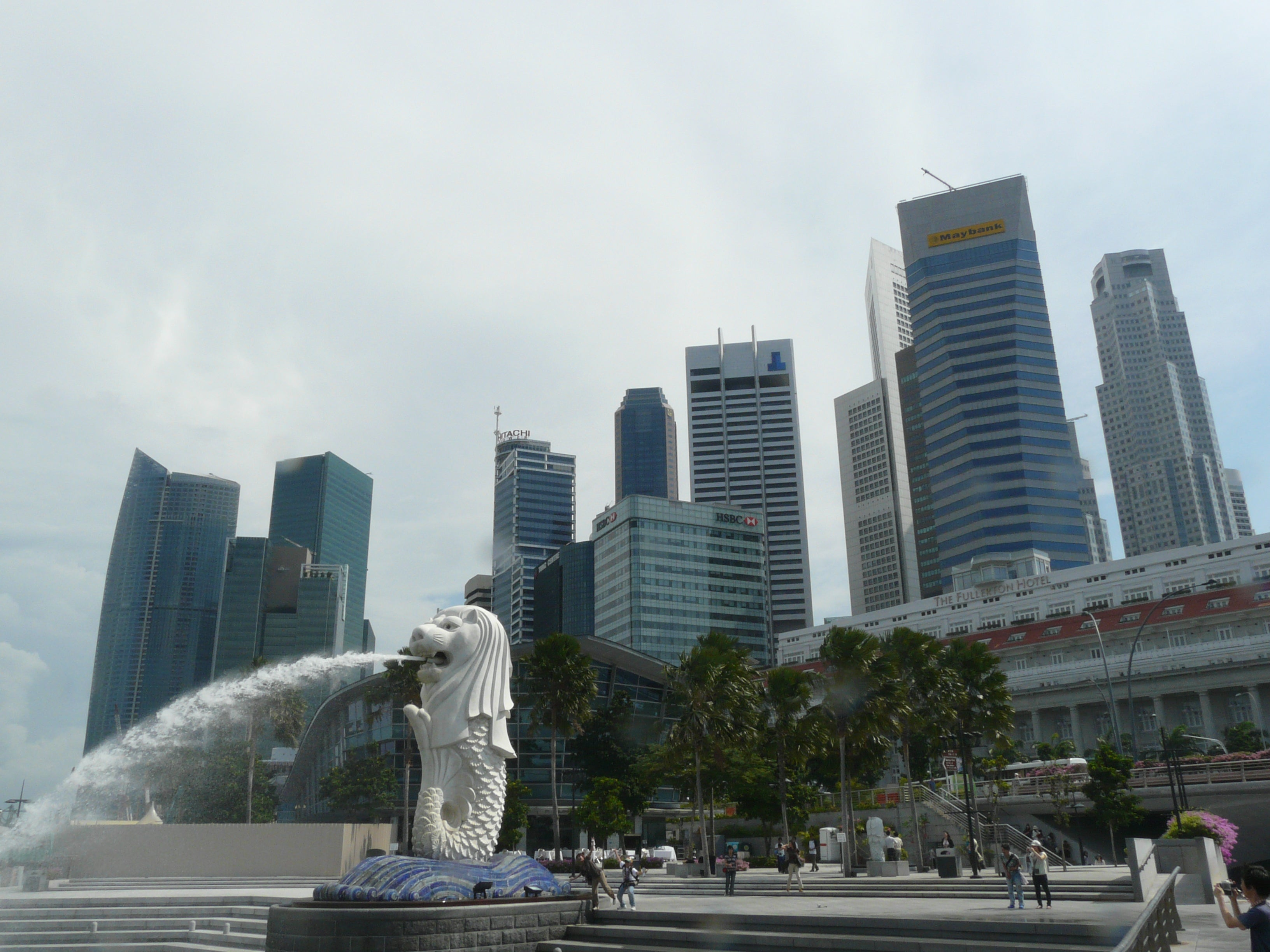 Skyline en Merlion Park
