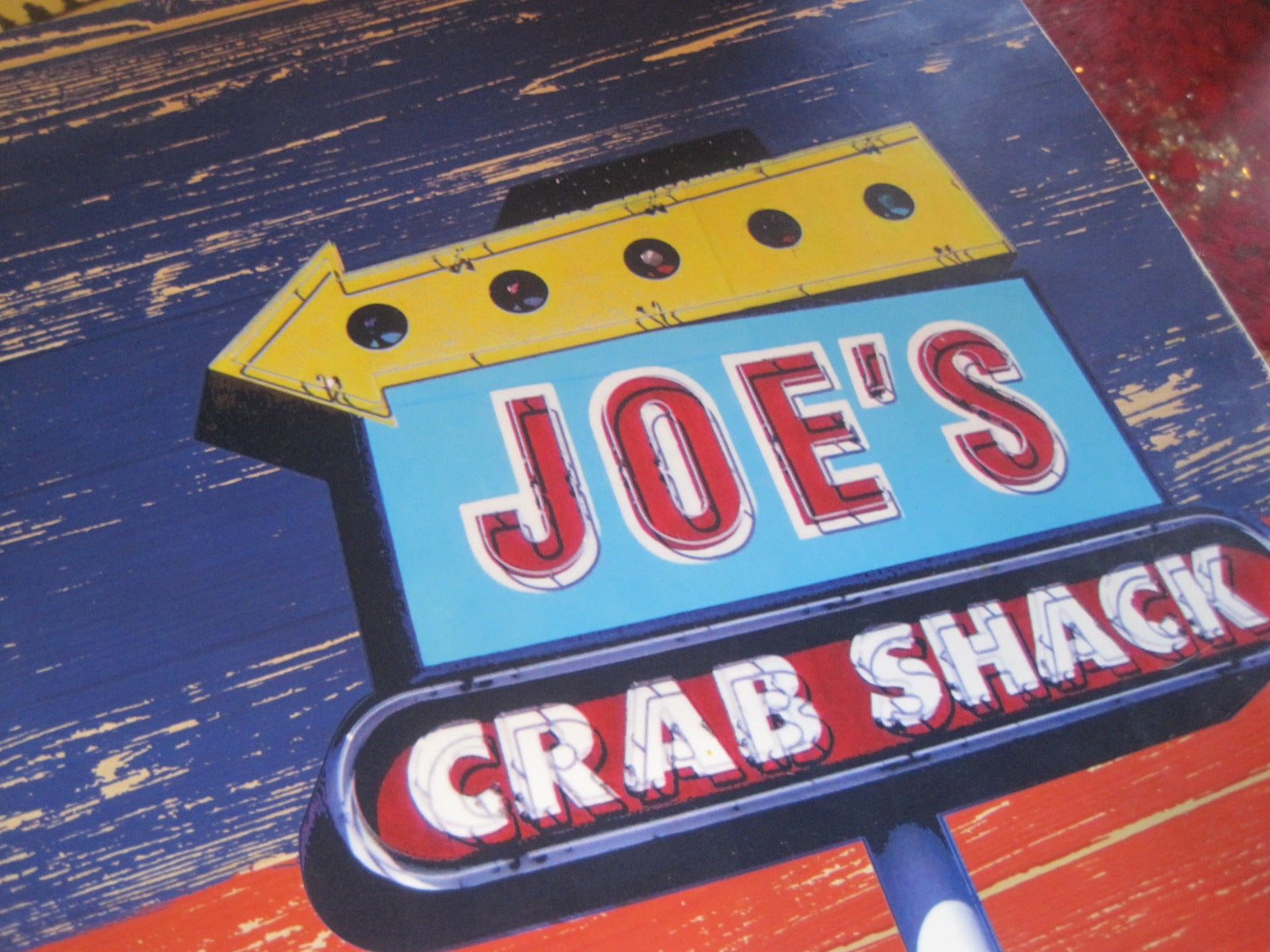 Chapa de matriculación en Joe's Crab Shack