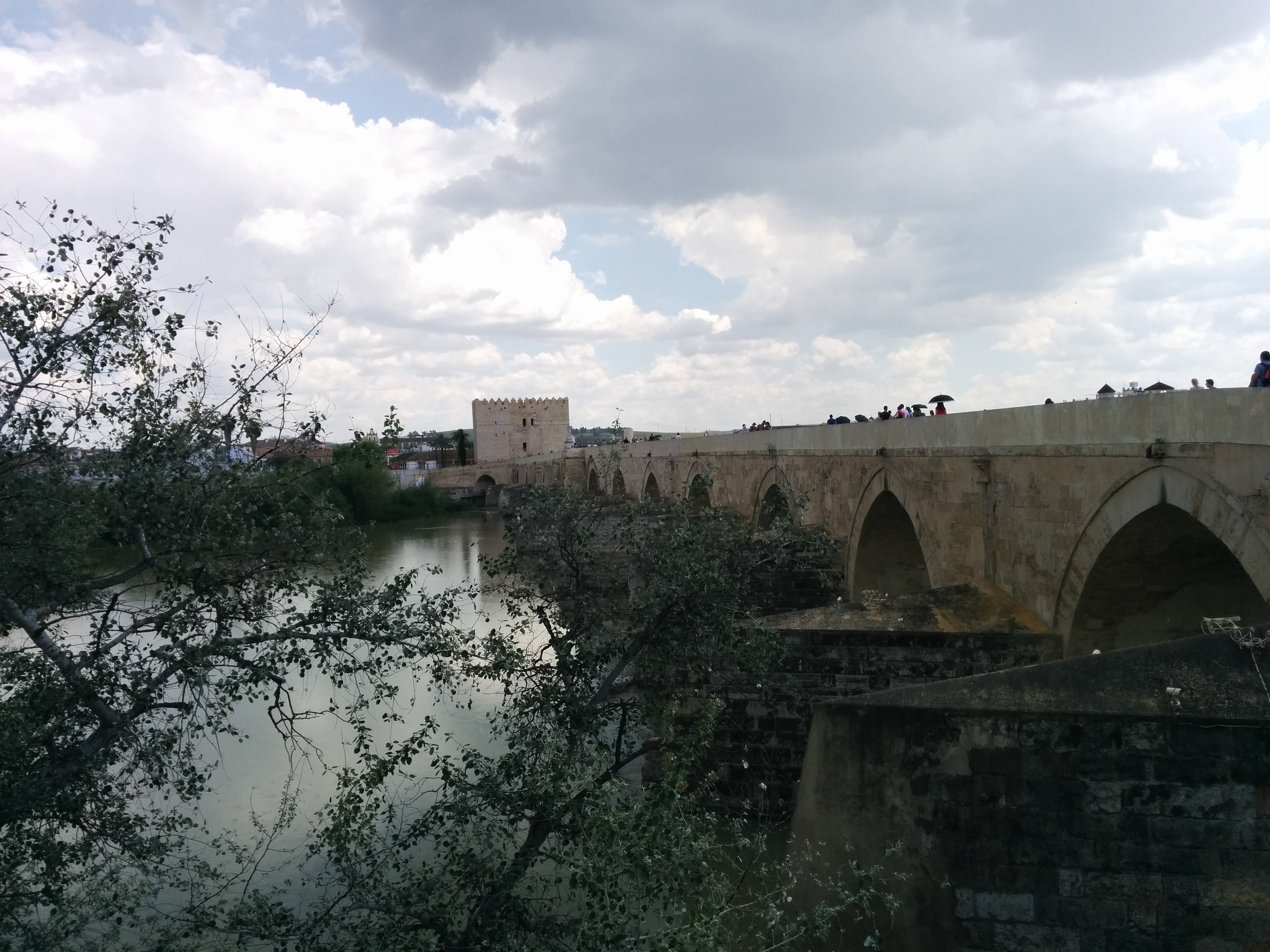 Wall in Roman Bridge of Córdoba