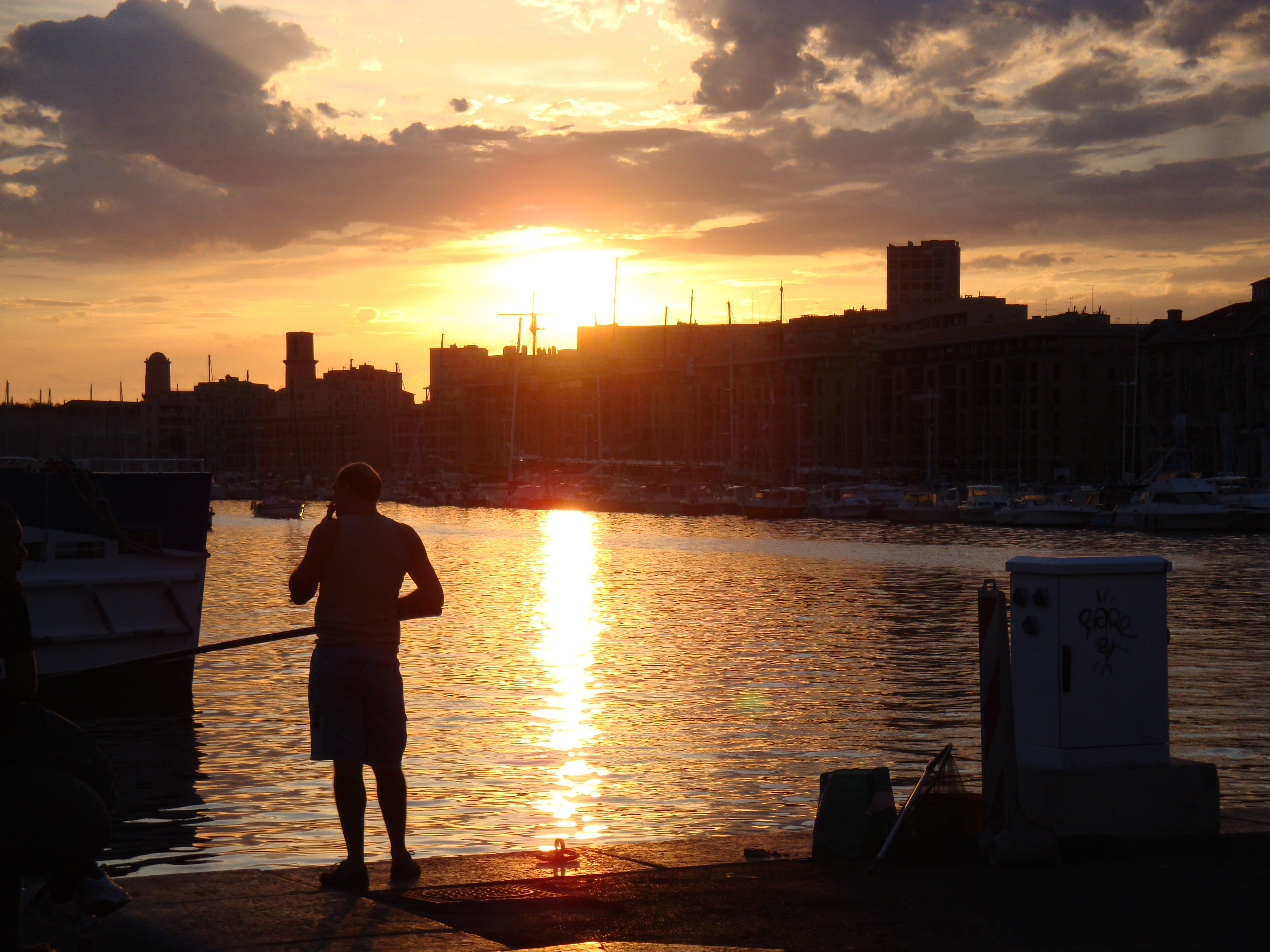 Sunset in Port of Marseille