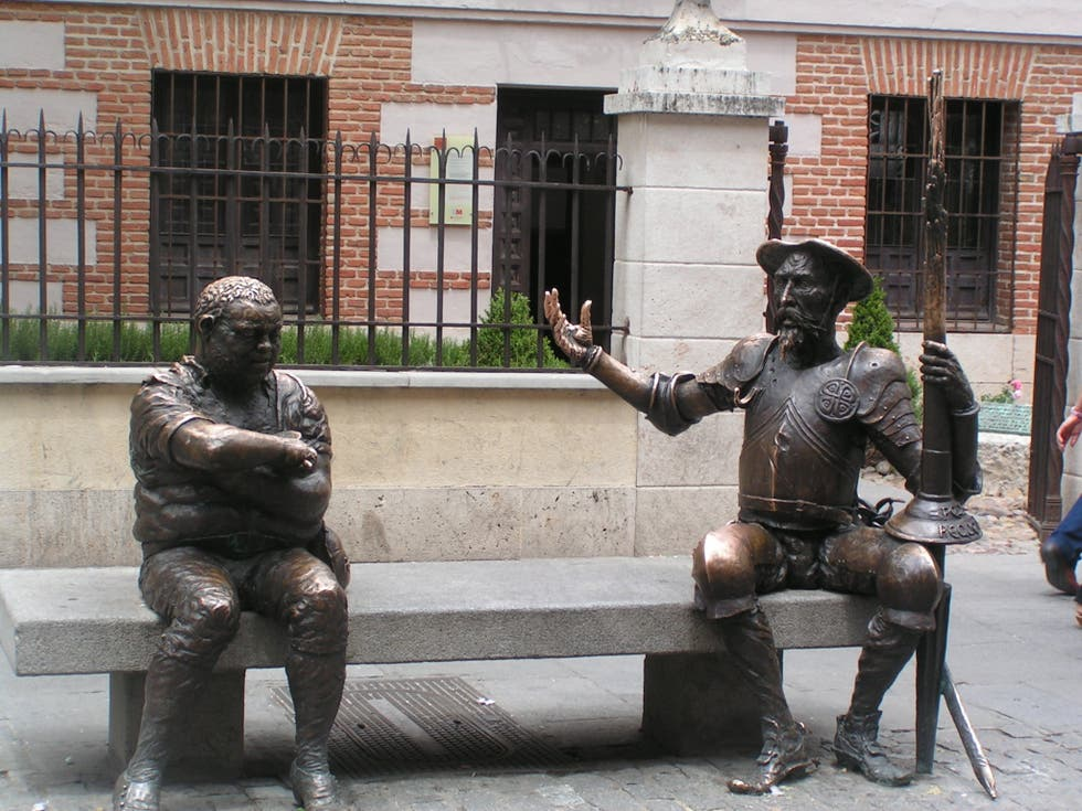 Statue of don quixote and sancho panza in alcala de - Sofas alcala de henares ...