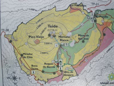 Route of ascent to Mount Teide