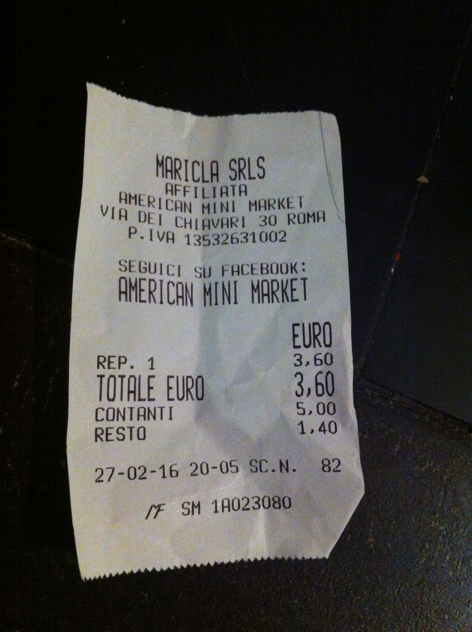 Receipt in American Mini Market